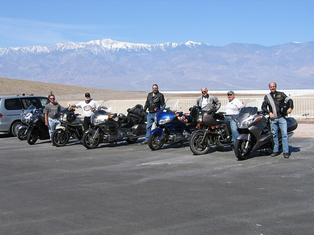 The crew with the bikes at Badwater.pic courtesy of Rod Libby